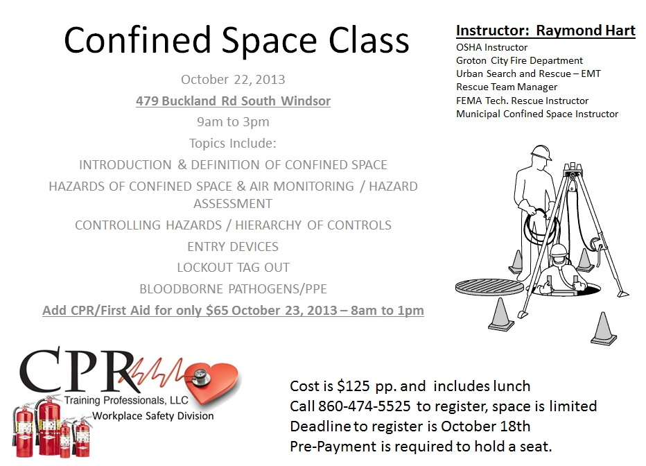 Confined Space Class-October 22 | CPR Training Professionals