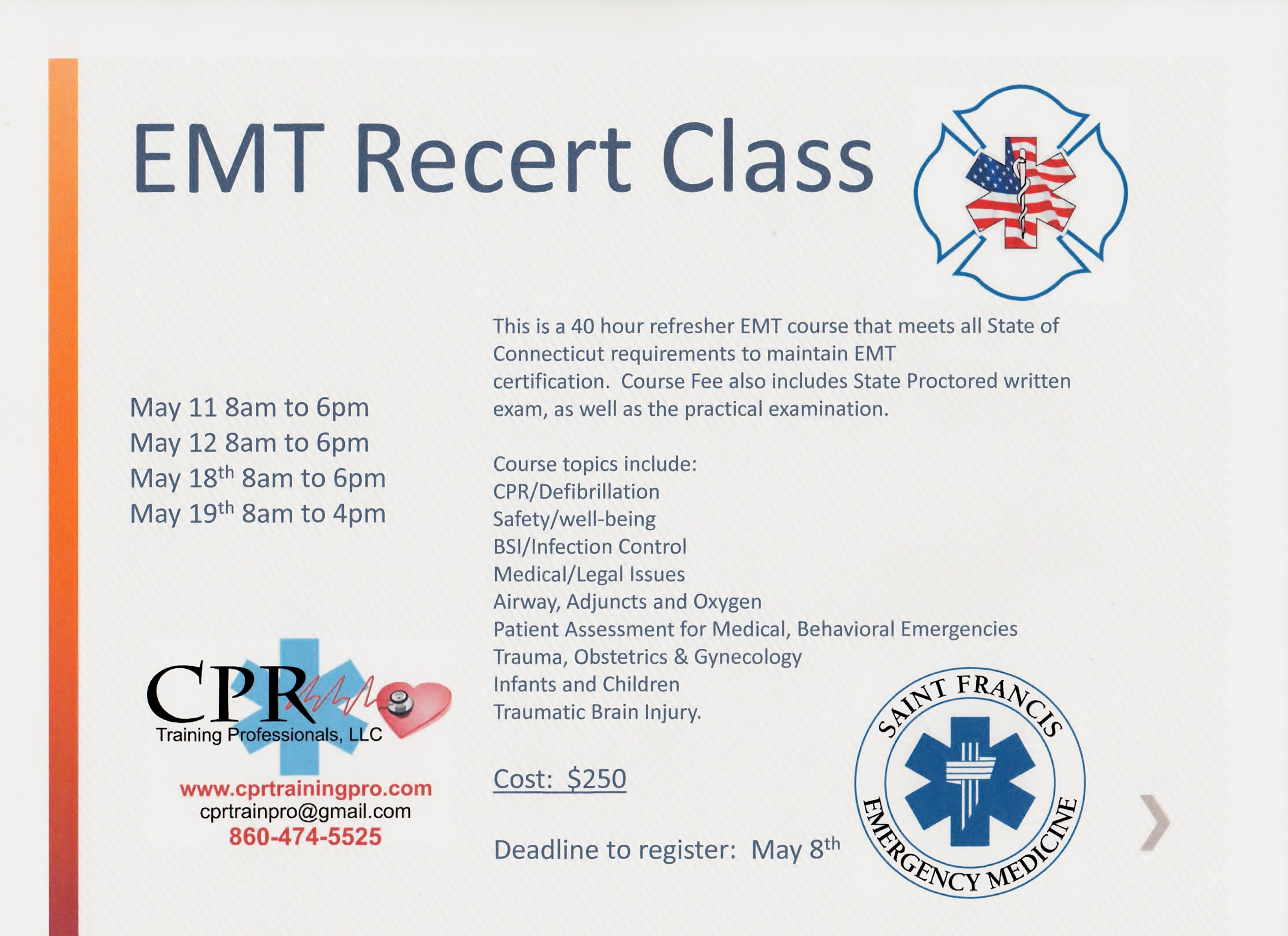 Emt Recertification Class May Cpr Training Professionals
